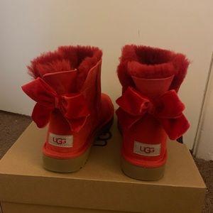 NIB UGG Mini Bailey Bow II Velvet Ribbon Boots